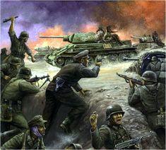 Flames of War - Ostfront 1942-1943. Infanteria alemana repeliendo el ataque de una columna de T-34/76 que llevan a unos jinetes a cuestas.
