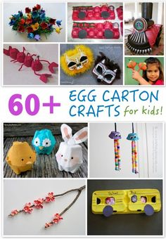 60+ Egg Carton Crafts - Egg cartons are a classic crafting material and for good reason – they're versatile and you almost always have one on hand. We've gathered more than 60 egg carton crafts that are a lot of fun to make. Learn how to create lobsters, school buses, flowers, jellyfish, and dozens of other things. Give one (or more) of these fun and easy kid's crafts a try!