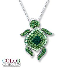 From the Color Obsession™ collection, this charming turtle necklace is studded with green and white SWAROVSKI ELEMENTS. Description from kay.com. I searched for this on bing.com/images