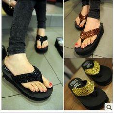 Free hot Aimy paillette flip flops shoes platform wedges platform sandals beach slippers flip female slip-resistant