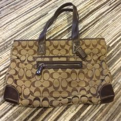 "Coach Small Tote Bag Signature Monogram Brown Great size bag! Not too big and not too small. Can use as tote or wear on shoulder...what I call a top handle bag. Been stored in box and haven't used in years. Wear on bottom corners-see last photo. 13""x9""x2"" Coach Bags Totes"