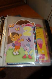 Binder idea to organize greeting cards given to kids!