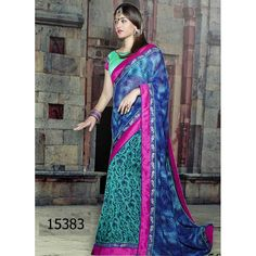 Designer Georgette Floral Design Print Party Wear Blue Saree - 15383 ( ML - 895 )