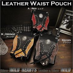 Choose your favorite color & your concho ! Leather Waist Belt Pouch Hip Bag Travel Pouch Biker Motorcycle 3-colors WILD HEARTS Leather&Silver (ID wp3624r101) https://global.rakuten.com/en/store/auc-wildhearts/item/wp3624r101/