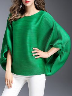 Shop Long Sleeved Tops - Green Casual Polyester Long Sleeved Top online. Discover unique designers fashion at StyleWe.com.