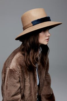 Gushlow and Cole X Awon Golding: a classic camel Fedora Hat, handmade in Britain from wool felt and finished with a two tone shearling band. Slouch Bags, Baby Slippers, Hats For Sale, Shearling Coat, Baby Boots, Fedora Hat, Hat Sizes, Ready To Wear, Fall Winter