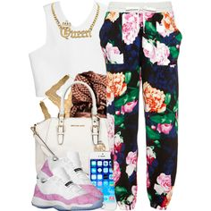 A fashion look from July 2014 featuring crop shirts, drawstring pants and michael kors purses. Browse and shop related looks.