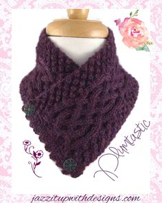Irish Celtic Neck Warmer Purple Baby Alpaca Trinity Stitch Cable - Small