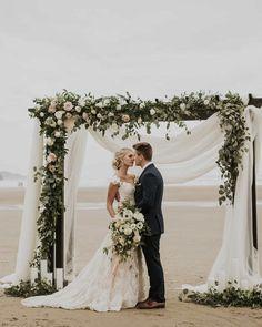 30 Bright Ideas Of Wedding Ceremony Decorations ❤ wedding ceremony decorations on beach with white cloth and greenery victoriacarlsonphoto #weddingforward #wedding #bride