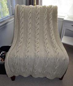 Handknit Custom Cable Blanket Throw