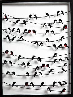 ) sitting on telephone lines / power lines picture in frame Storie di Carta - Uccelli Paper Birds, 3d Paper, Paper Flowers, Paper Crafts, Cut Paper Art, Paper Cutting Art, Kirigami, 3d Cuts, Cut Out Art