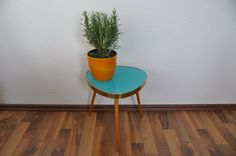 Mid Century Modern Plant Stand. Turquoise by BerlinerStrasse, $150.00
