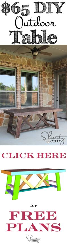Build this Outdoor Table for only $65! Free Plans at shanty-2-chic.com