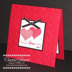 For more details, please visit my blog  http://www.danniesdesigns.com/my_weblog/2015/01/hello-life.html#  Stamps:  Hello Life Paper:  Whisper White, Real Red, Basic Black Ink:  Real Red Accessories:  Dimensionals, Rhinestones, Basic Black Taffeta Ribbon Big Shot:  Happy Heart Embossing Folder