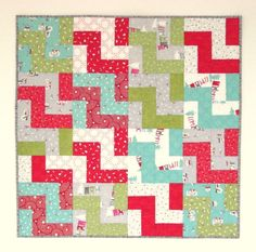 Christmas Baby Quilt Boy/Girl 33 x 33 Modern by KarenGriskaQuilts