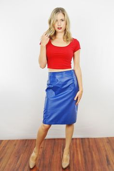 Vtg 80s Blue Leather Mini Skirt High Waist Wiggle Party Dress s M | eBay