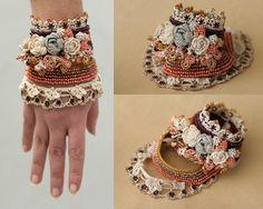 Crochet cuff with roses by ellisaveta on Etsy