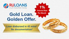 Get a loan even at low ‪#‎CIBILScore‬. Apply for ‪#‎GoldLoan‬ @ 1% Interest Rate per month with No processing fees, No Pre-closure charges! For more details visit - https://www.ruloans.com/cms/hdfc-gold-loan