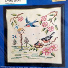 "Spring Scene Stamped Counted Cross Stitch Kit – Framed Size 11"" x 11"" – Needles 'N Hoops No. 235 by DocksideDesignsEtc on Etsy"