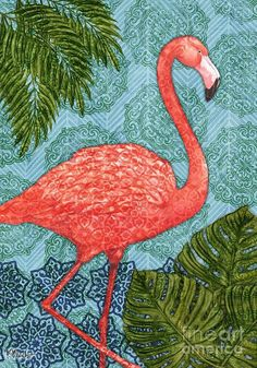 Bahama Flamingo - Vertical Art Print by Paul Brent.  All prints are professionally printed, packaged, and shipped within 3 - 4 business days. Choose from multiple sizes and hundreds of frame and mat options.