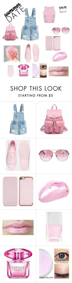 """""""State fair summer date"""" by taylorbrundidge ❤ liked on Polyvore featuring ASOS, Minnie Rose, Ted Baker, Nails Inc., Versace, statefair and summerdate"""