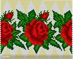 Beaded Ornament with Roses and Leaves Seed Bead Flowers, Beaded Flowers, Cross Stitch Rose, Cross Stitch Flowers, Pony Bead Patterns, Beading Patterns, Hama Beads Disney, Bead Loom Designs, Seed Bead Crafts