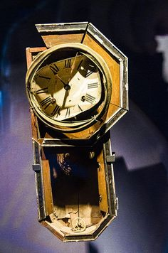 Clock on display in the Nagasaki Atomic Bomb Museum that stopped at 11:02 a.m. on August 9, 1945, when the explosion of an atomic bomb devastated Nagasaki.