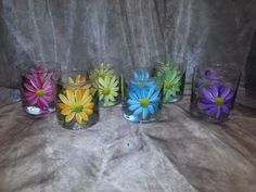 Items similar to Hand Painted, Multi colored Daisy glasses, set of 6 on Etsy Painted Cups, Hand Painted, Wine Glass, Glass Vase, Daisy Pattern, Enamel Paint, Paint Designs, Different Colors, Glasses