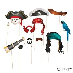 Who needs boring photos anymore? Spice up your photos at parties, family reunions, weddings and more with these pirate photo booth props! Create photo ops and ...