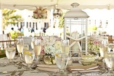 Beach wedding tablescape at Congress Hall, Cape May, NJ