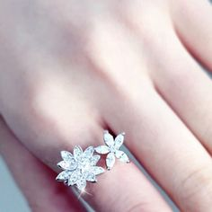 Stunning Rhinestone Floral Asymmetric Cuff Ring For Women