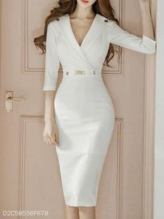 Product Name Surplice Plain Bodycon Dress Brand Name Chicokay SKU Package Included Dress Silhouette sheath Season winter,autumn Occasion date,Daily Supplementary matters The fabric is slightly elastic.All dimensions are measured manual Sexy Dresses, Fashion Dresses, Dresses For Work, Formal Dresses, Elegant Dresses, Midi Dresses, Summer Dresses, Wedding Dresses, Casual Dresses