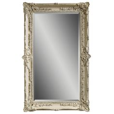 "HOME DECOR – MIRROR – Wood-framed mirror in antique white with floral details.  Product: Wall mirrorConstruction Material: Wood and mirrored glassColor: Antiqued whiteFeatures:Beveled glass perimeterOrnate lovely floral and drape motifRubbed finishDimensions: 69"" H x 43"" W"