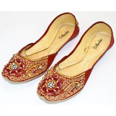 Womens Red Evening Dress Beaded Indian Leather Khussa Shoes Pumps ($34) ❤ liked on Polyvore