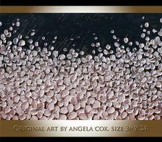Original Modern  Handpainted   Impasto Palette Knife  White Flowers  Painting. Size 36 x 24 x 1.4 on Etsy, $149.00