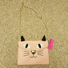 Betsey Johnson Pink Cat Purse Brand new with tags!!! I also have it in black, and seem to only carry that one!! Super cute for any occasion! Has a gold chain that is removable so that it can be carried as a clutch Betsey Johnson Bags
