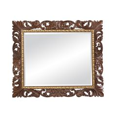 Hand Carved London Mahogany Finished Mirror, Gold Gilded Accents, Beveled Glass
