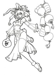 Chinese Rabbit Year Coloring Page