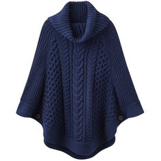 Joules Capability Poncho ($98) ❤ liked on Polyvore featuring outerwear, french navy, navy blue jersey, stitched jerseys, button poncho, navy jersey and cable poncho