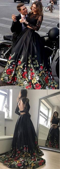 Two Piece Lace Top Floral Black Long Sleeves Satin Prom Dress with Appliques #black #satin #longsleeve #appliques #prom #okdresses
