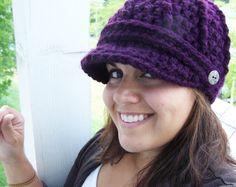 Crochet Newsboy Hat- Plum