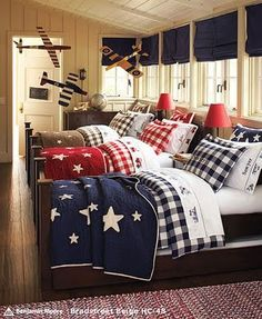 bunk room or sleeping porch ~ Kids Bedroom, Bedroom Decor, Triplets Bedroom, Kids Rooms, Childrens Rooms, Design Bedroom, Bed Design, Preteen Boys Bedroom, Bedroom Ideas
