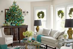 For the living room's tree, the homeowners of this Connecticut home limited themselves to basic glass ornaments in a handful of shades: blue, green, and gold. The presents beneath it benefit from a similar restraint.