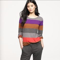 J. Crew colorblock stripe long sleeve tee Excellent condition, Great cotton feel, perfect for transitioning from summer into fall! J. Crew Tops Tees - Long Sleeve