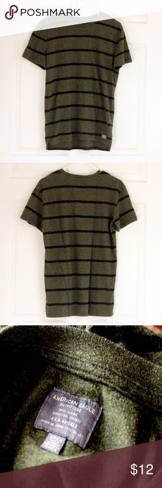 American Eagle Outfitters striped T-SHIRT - Small Like New. American Eagle Outfitters. Size Small. Striped t-shirt. Two-tone Hunter green. Made in Indonesia. 60% Cotton. 40% Polyester.  ❤️Bundle to SAVE MORE❤️ 3 items 10% off❤️ 🛑I don't model 🚫No trades 🌼Offers Welcome American Eagle Outfitters Shirts Tees - Short Sleeve