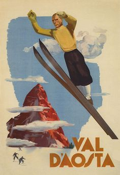 Arnaldo MUSATI – Vintage poster – Bucolic travel poster for the Aosta Valley in the italian Alps. The perfect poster to decorate the room of your child. Ski Italy, Italy Travel, Evian Les Bains, Vintage Ski Posters, Retro Posters, Illustrations Vintage, Illustration Art, Aosta Valley, Fine Art Prints