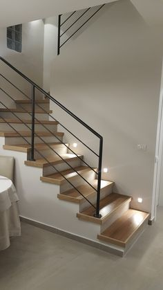 - The stair railing at home is more than a simple way to get from a floor to another. You can create an extension of your personal likes in decoration, . Modern Stair Railing, Stair Railing Design, Metal Stairs, Staircase Railings, Modern Stairs, Railing Ideas, Painted Stairs, Home Stairs Design, House Design
