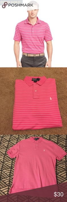 Pink striped Ralph Lauren Polo golf shirt Men's pink Polo by Ralph Lauren striped golf shirt. White stripes and white polo logo on left side. Size M. Great condition, no stains. Similar to cover photo but not exact ! Actual shirt shown in last three pictures. Polo by Ralph Lauren Shirts Polos