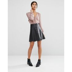 Vila Scallop Trim Skirt (£43) ❤ liked on Polyvore featuring skirts, black, high-waisted skirts, scalloped skirt, vila, zipper skirt and high waist skirt