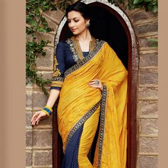 #Yellow #Saree with Blouse